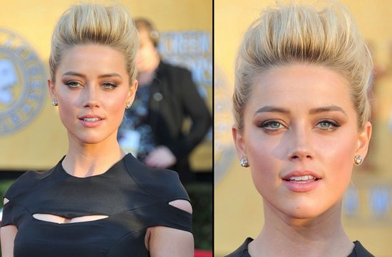 bridal beauty from 2012 sag awards wedding hair makeup amber heard