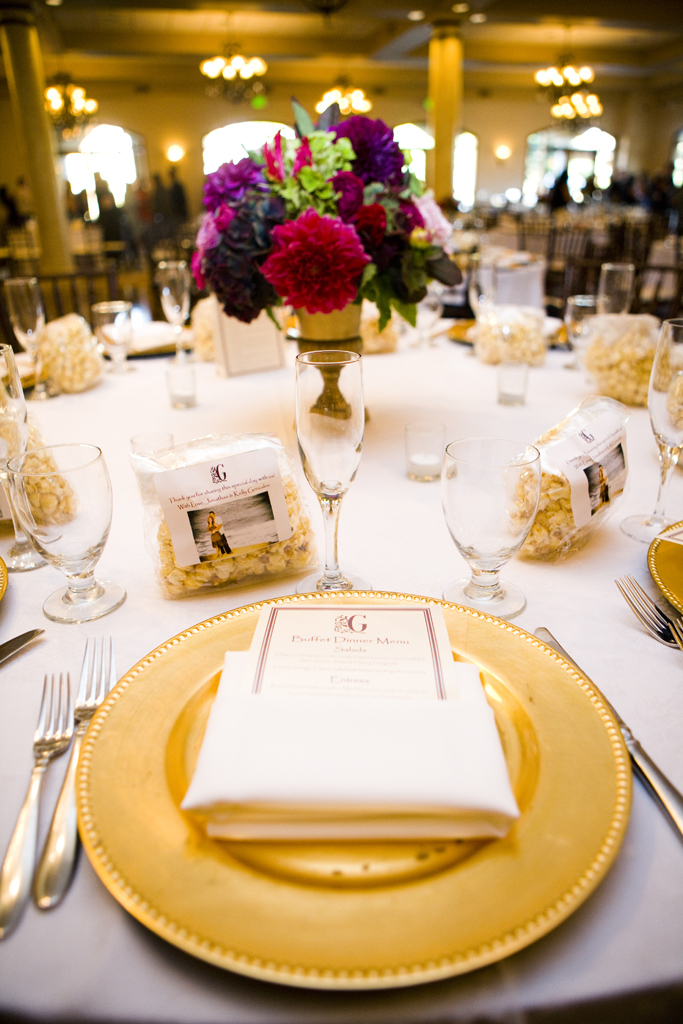 Formal Gold Reception Table Decor