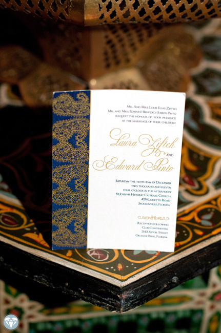 Gold & blue wedding invitations with calligraphy