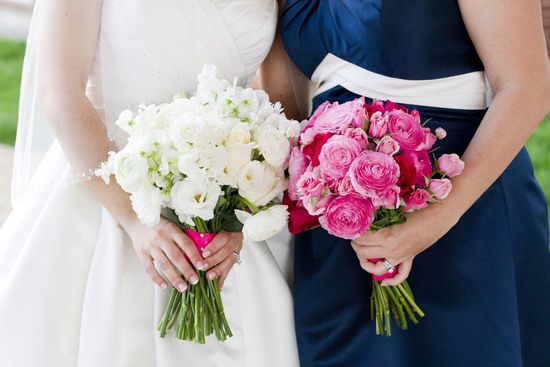 White & Pink Bridal Bouquets