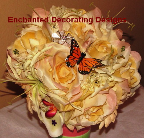 printed rose and orchid brooch bouquet