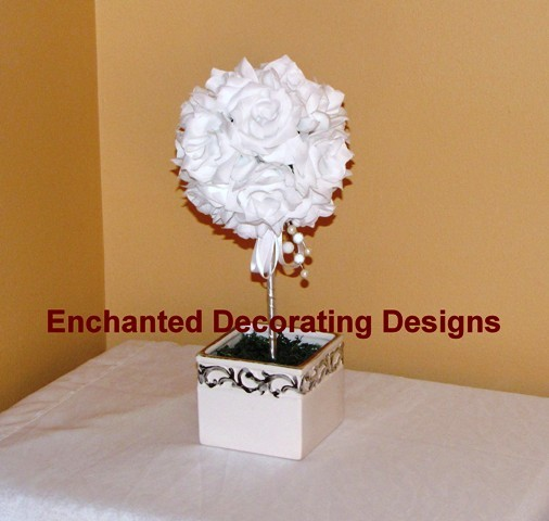 printed 7inch open rose white topiary