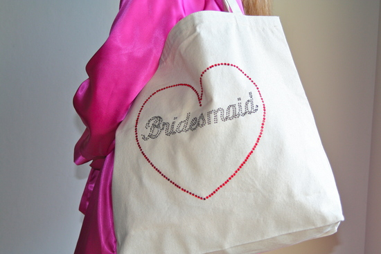 Tote Bag Close Up with Black Rhinestones and Fuschia Robe