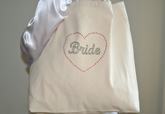 Tote Bag Close up with Black Rhinestones and White Robe