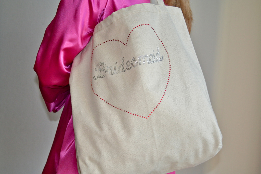 Tote Bag Close up with Silver Rhinestones and Fuschia Robe