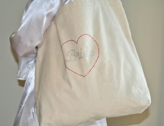 Tote Bag Close up with Silver Rhinestones and White Robe