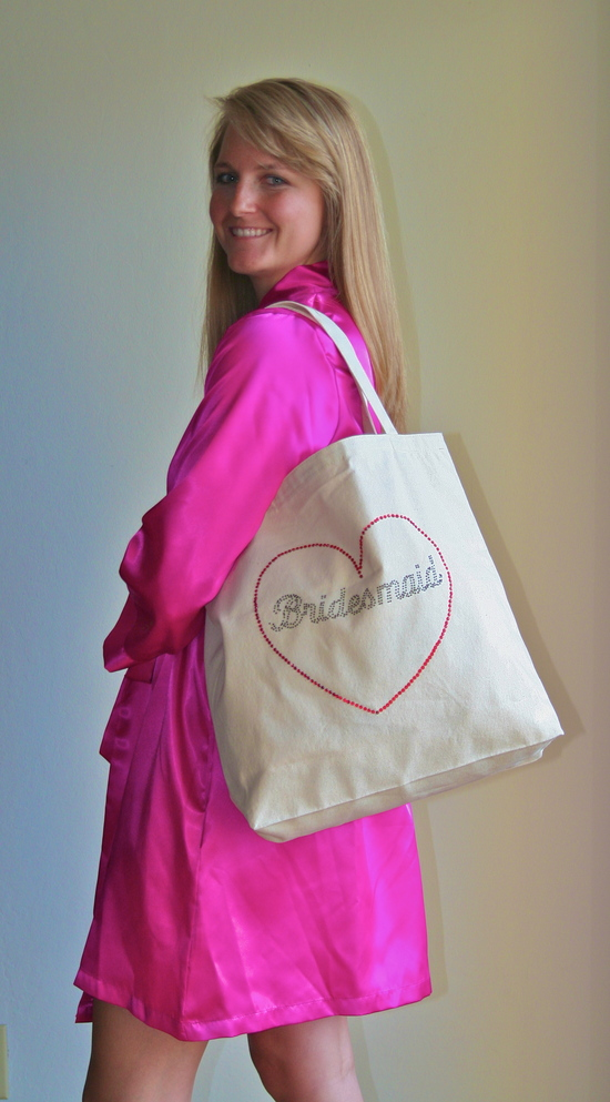 Tote Bag Over the Shoulder with Black Rhinestones and Fuschia Robe