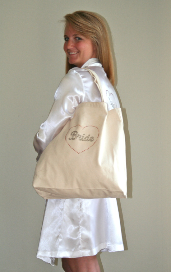 Tote Bag over the Shoulder with Black Rhinestones and White Robe