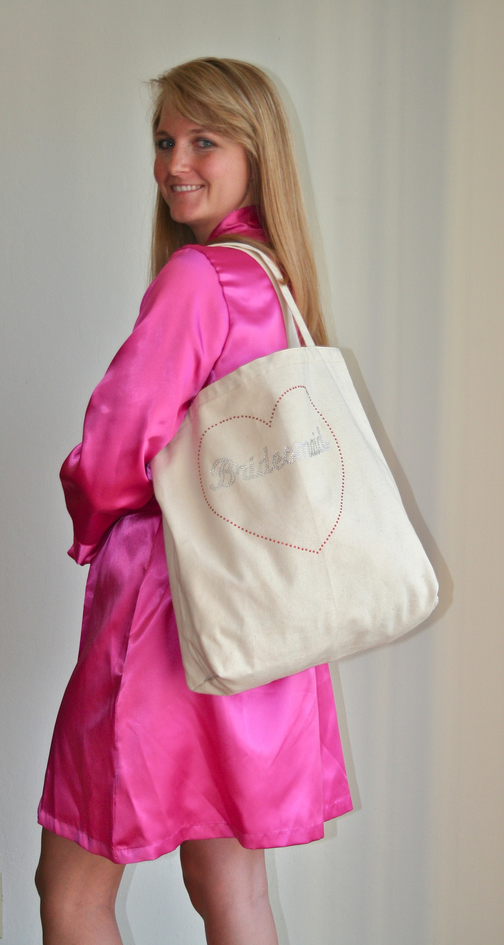 Tote Bag Over the Shoulder with Silver Rhinestones and Fuschia Robe