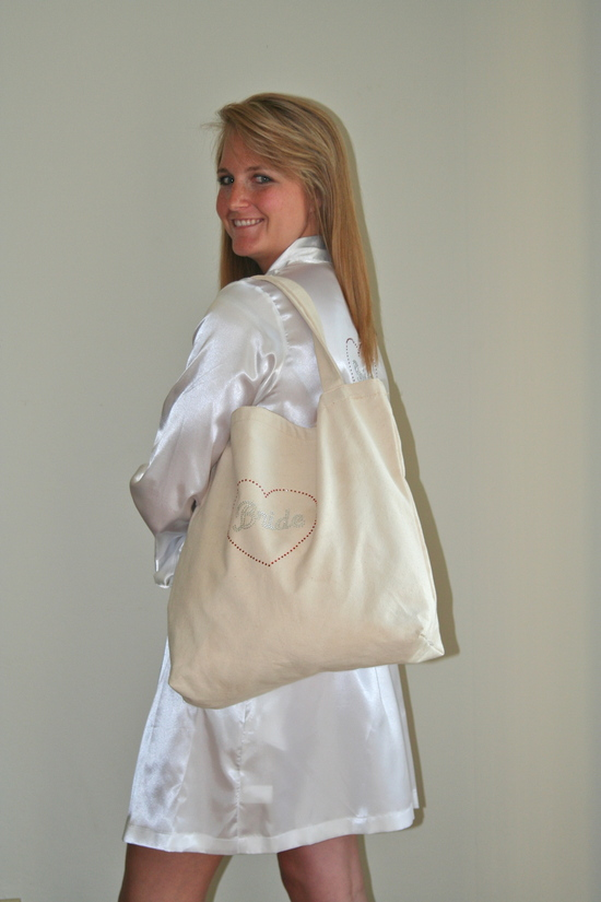 Tote Bag Over the Shoulder with Silver Rhinestones and White Robe