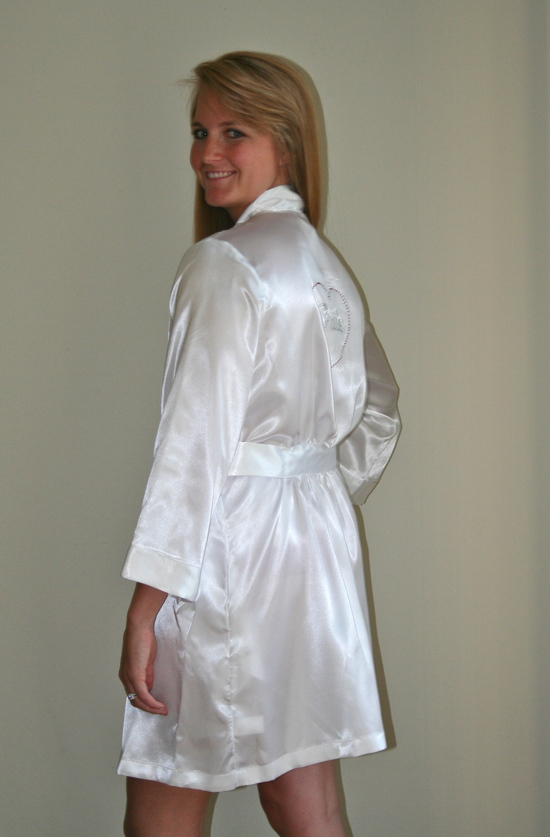 White Robe Rhinestone Back Side