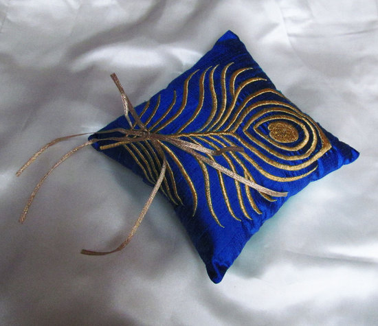 peacock blue and gold ring pillow