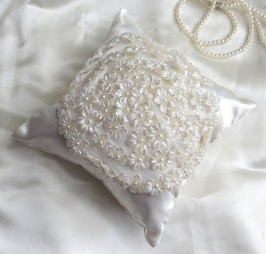 pearl and floral ring pillow