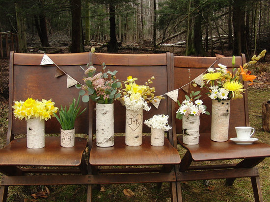 simple wedding centerpieces for a handcrafted wedding rustic wood vases