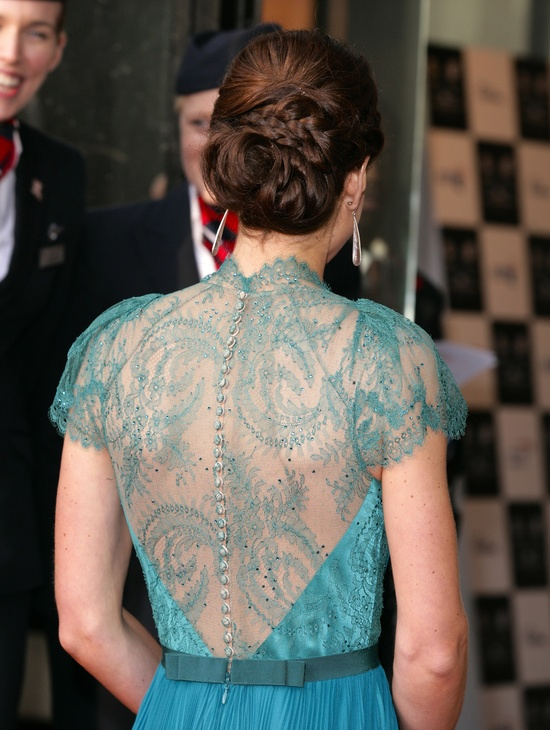 kate middleton wears Elie Saab lace covered back