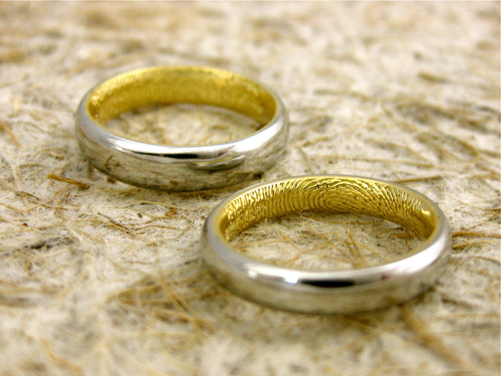 wedding bands from etsy with fingerprints in two tones