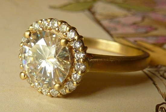 unique engagement rings wedding bands on etsy diamond halo with moissanite