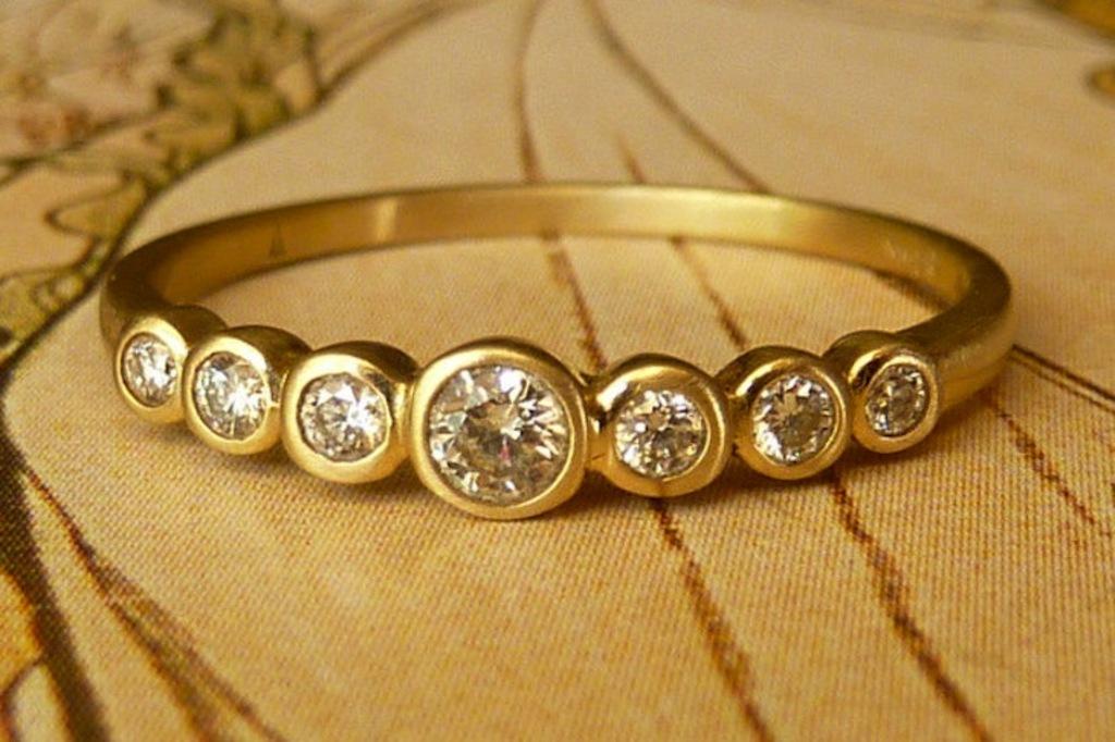 unique engagement rings wedding bands on etsy yellow gold bezel set