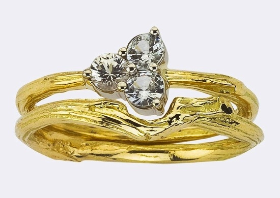 unique engagement rings wedding bands from Etsy bridal ring set yellow gold