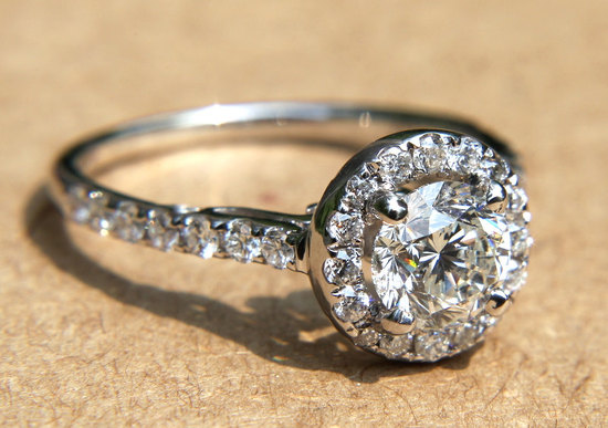 Engagement halo pave vintage inspired engagement ring from Etsy