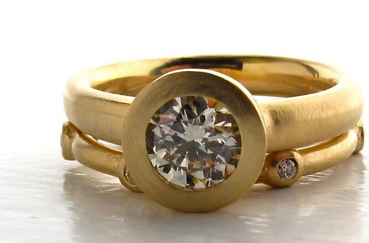 unique engagement rings wedding bands from Etsy 18k gold