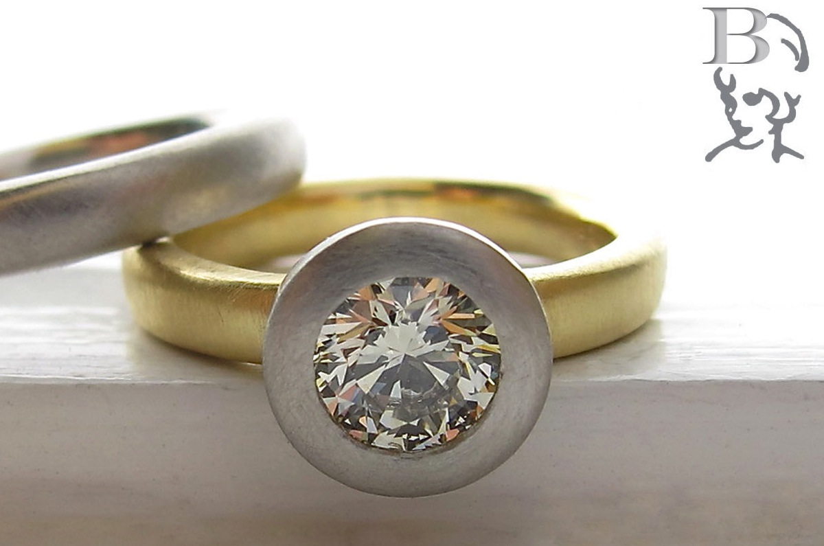 unique engagement rings wedding bands from Etsy yellow gold and platinum