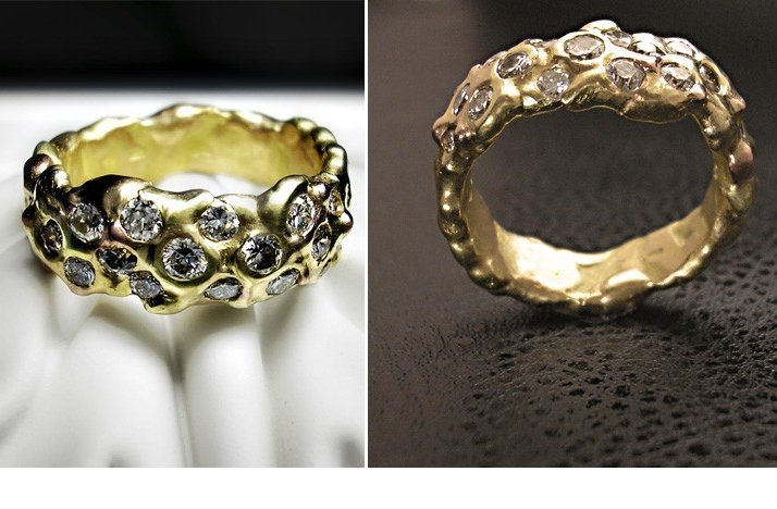 Unique Engagement Rings Wedding Bands Handmade Yellow Gold With Floating Diamonds