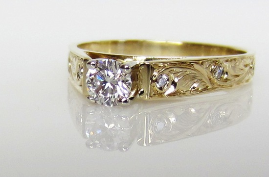 unique engagement rings wedding bands from Etsy engraved yellow gold