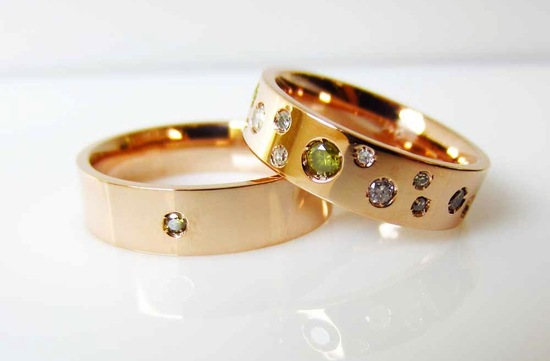 Gold wedding band with floating diamonds gems from Etsy