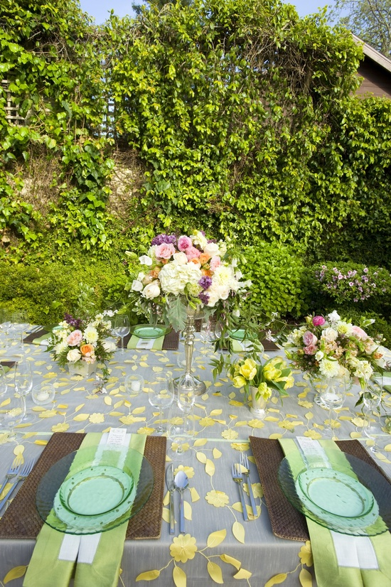 whimsical garden wedding elegant centerpiece pink green