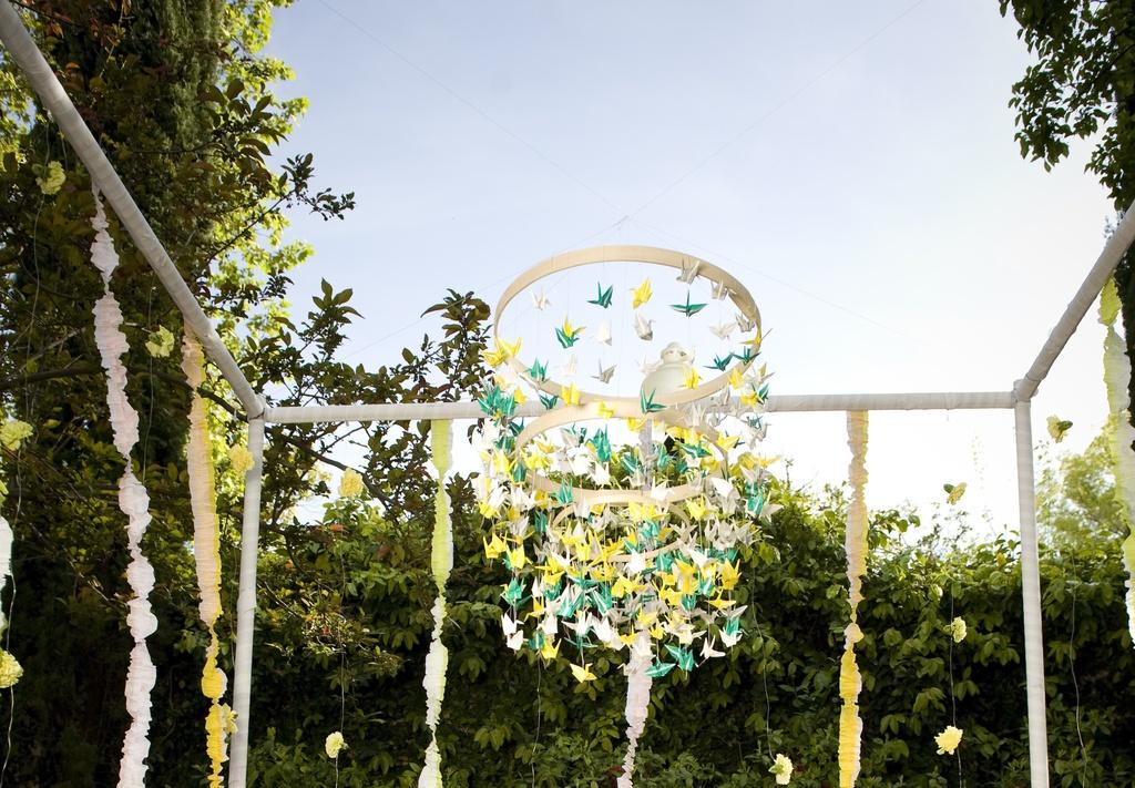 Whimsical-garden-wedding-paper-crane-arbor.full