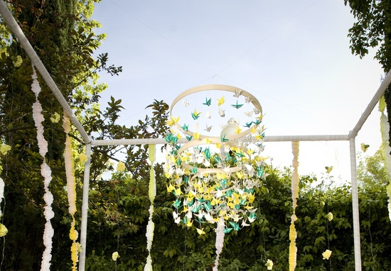whimsical garden wedding paper crane arbor