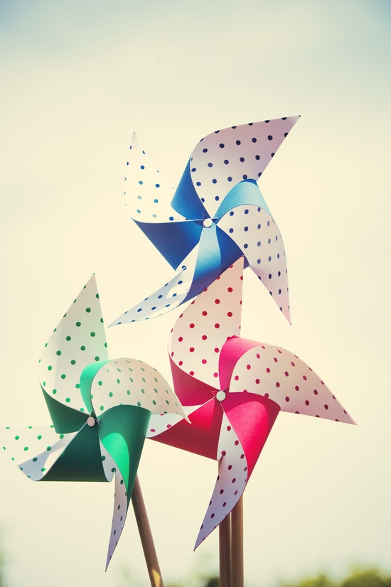Whimsical Garden Wedding Polka Dot Pinwheels
