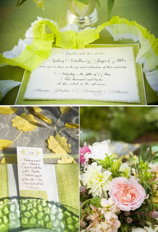 whimsical garden wedding neon green details romantic pastel flowers