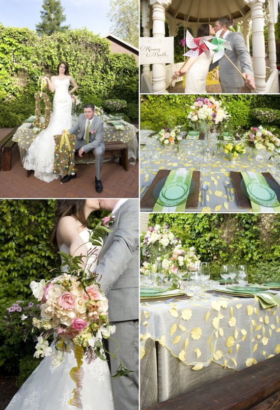 whimsical garden wedding green yellow romantic flowers bride groom kissing booth
