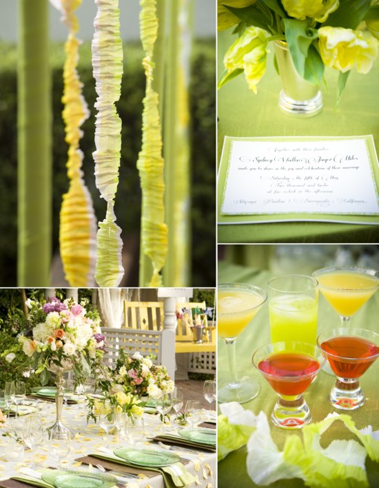 whimsical garden wedding green yellow romantic pastel wedding flowers