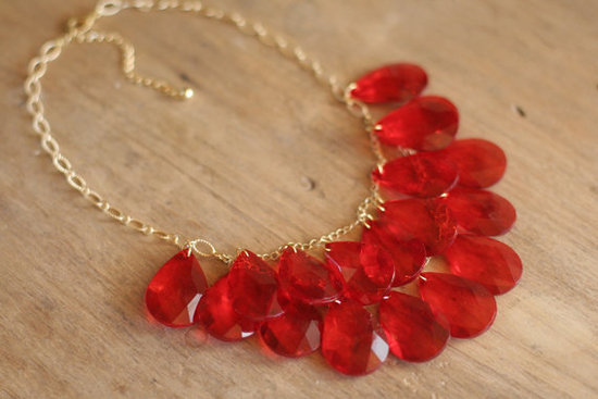 photo of Red Cascade Statement Necklace by Shop Nestled on Etsy, $40