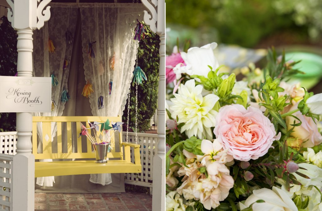 Elegant Garden Wedding Reception Inspiration Whimsical Kissing Booth