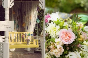 photo of elegant garden wedding reception inspiration whimsical kissing booth