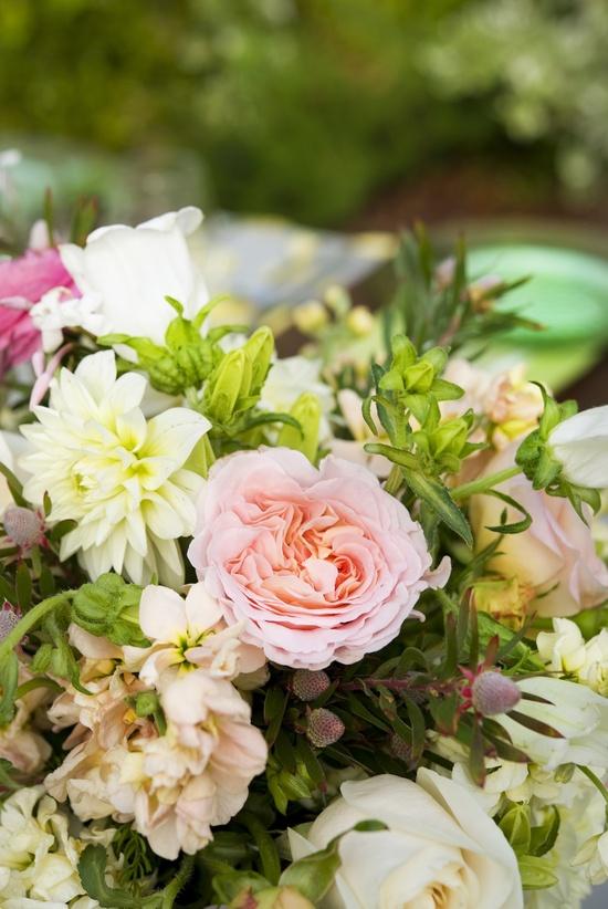 photo of romantic wedding centerpiece pink ivory wedding flowers