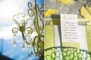 photo of elegant garden wedding green yellow chandelier reception decor