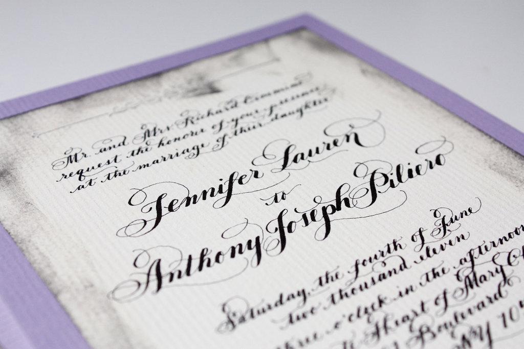 gorgeous wedding invitations hand calligraphy wedding stationery black white lilac - Calligraphy Wedding Invitations