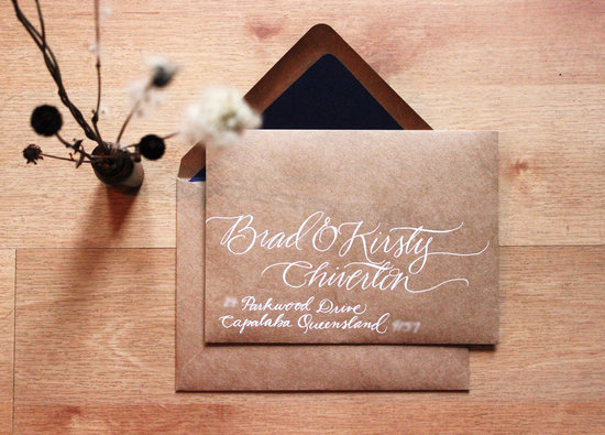 gorgeous wedding invitations hand calligraphy wedding stationery kraft paper white cursive