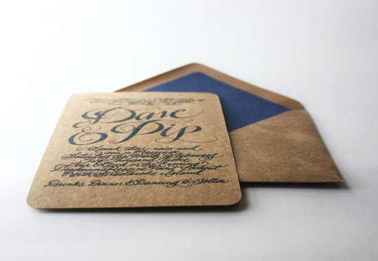 gorgeous wedding invitations hand calligraphy wedding stationery navy tan
