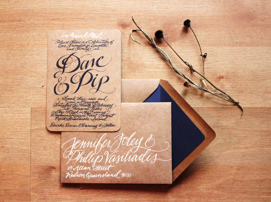 Gorgeous-wedding-invitations-hand-calligraphy-wedding-stationery-kraft-paper-navy-white.full