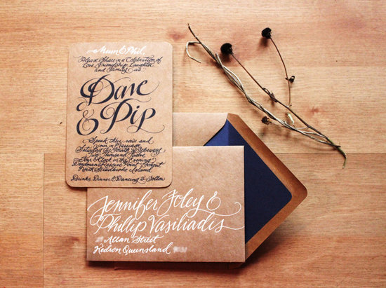 gorgeous wedding invitations hand calligraphy wedding stationery kraft paper navy white