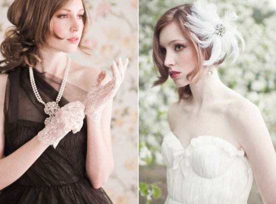 vintage inspired bridal accessories wedding gloves fascinator lace feathers