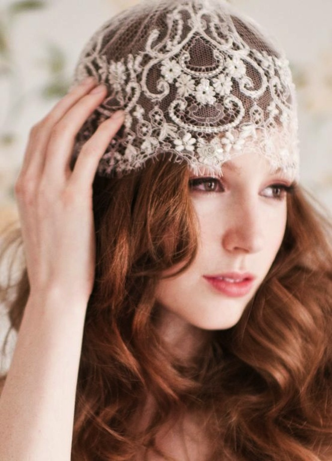 romantic wedding accessories lace bridal cap