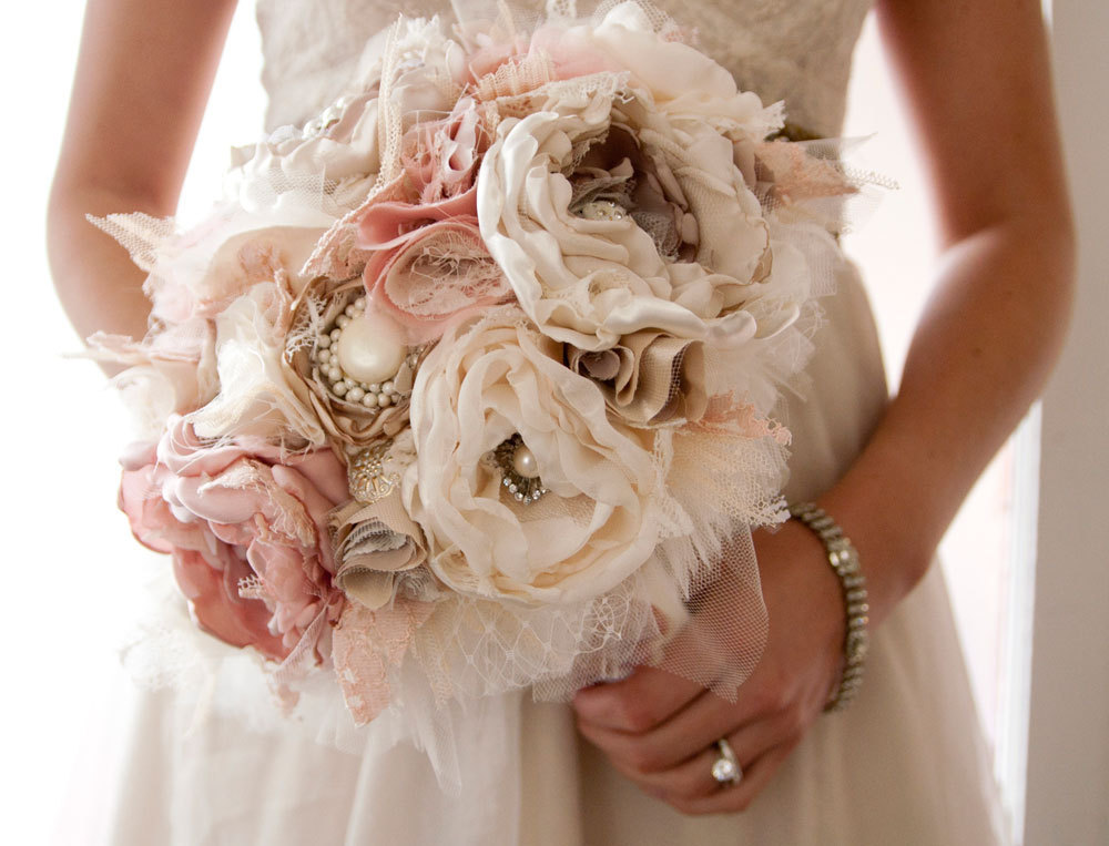 wedding flower alternatives bridal bouquets from Etsy shabby chic