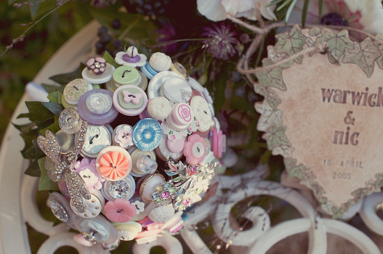 wedding flower alternatives bridal bouquets from Etsy vintage button brooch